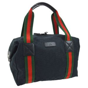 Pre-Owned GUCCI GG Pattern Shelly Line Hand Bag Purse Black Canvas for Sale in Henderson, NV