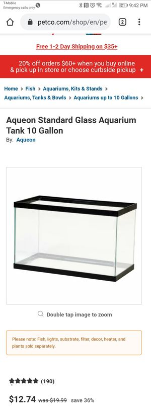 Brand new 10 gallon glass tank $12.74 for Sale in Monterey Park, CA