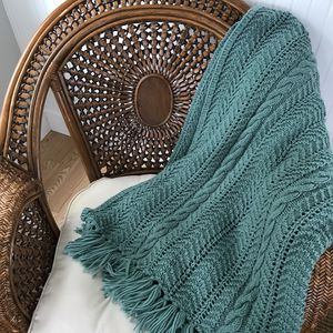 Vintage Boho Handmade Rich Teal Crocheted Afghan Blanket for Sale in Maple Valley, WA