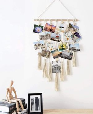 Brand new Photo Display Macrame Wall Hanging Pictures Decor Boho Chic Home Decoration for Apartment Bedroom Living Room Gallery, with 25 Wood Clips for Sale in Lake Oswego, OR