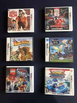 6 nintendo 3DS video games - The Lego Movie, Sonic Racing, Madagascar, Phineas & Ferb, Big Hero 6 & Wreck-It Ralph for Sale in Miami, FL