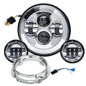 """7"""" Chrome Motorcycle Led Headlight Fog Passing Lights DOT Kit Set for Touring Road King Ultra Classic Electra Street Glide Tri Cvo Heritage Softail for Sale in Fullerton, CA"""