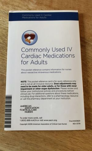AACN Commonly Used IV Cardiac Medications for Adults for Sale in Jackson, TN