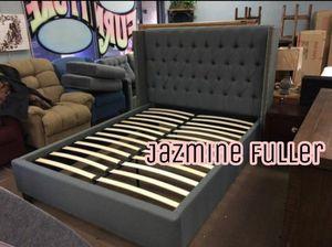 Grey King size platform bed frame for Sale in Glendale, AZ