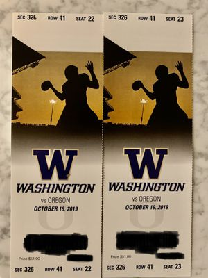 UW vs. Oregon Football Tickets for Sale in Seattle, WA