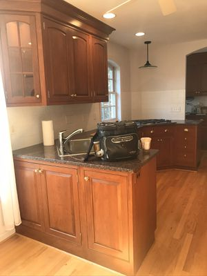 Inset wood cabinets with brass hardware- cute kitchen for sale, good quality for Sale in Oakton, VA