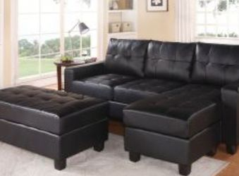 Black Sectional sofa With Ottoman Sleeper Style for Sale in Fort Lauderdale,  FL