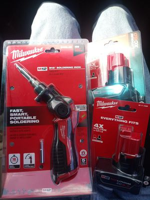 Milwaukee m12 soldering iron and 2 6.0 batteries for Sale in Portland, OR