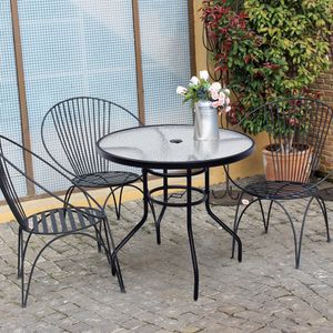 "32"" Patio Tempered Glass Steel Frame Round Table for Sale in Palmdale, CA"