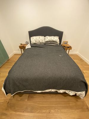 Queen Bed Frame + Metal (Collapsible) Box Spring + Matress for Sale in Monterey Park, CA