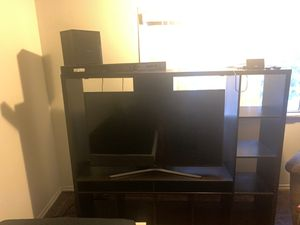 Samsung TV 55 With SoundBar SubWoofer and TV Stand with Cubes for Sale in Santa Ana, CA