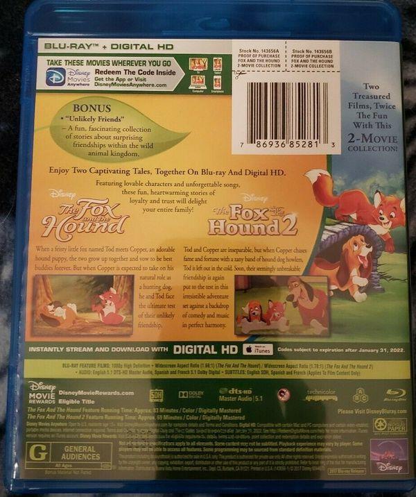 Fox and the Hound 1&2 Blu-ray Set. Brand New