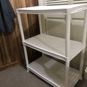 WHITE PLASTIC STORAGE SHELVING for Sale in Chelsea, MA