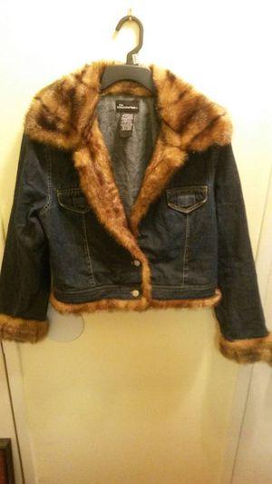 No Boundaries faux mink trimmed denim jacket for Sale in Herndon, VA