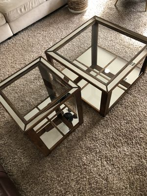 Mirrored wood side table and coffee table for Sale in Tulare, CA