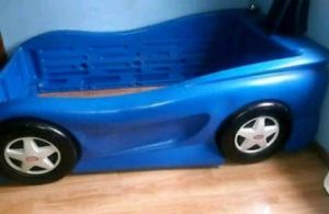 Hot Wheels racecar twin size bed frame and mattress! for Sale in Springfield, MO