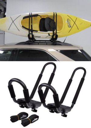 New Universal 1 pair J- shape Rack HD Kayak Carrier Canoe Boat Surf Ski Roof Top Mounted on Car SUV Crossbar for Sale in West Covina, CA