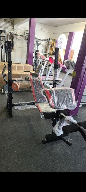 Marcy Adjustable Olympic Workout Bench with Squat Rack and Preacher Pad.brand new in box for Sale in Long Beach, CA