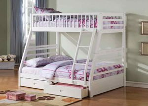Twin/Full Bunk Bed AND Drawers - 37040 - White LZY for Sale in Pomona, CA