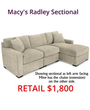 Macy's Radley Sectional Chaise Sofa Couch for Sale in Greenbelt, MD