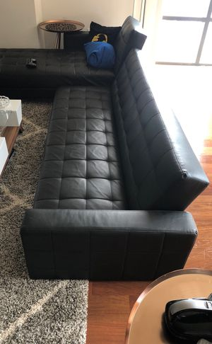 2 piece Rosina Sleeper Reversible Sleeper Sectional Black for Sale in Brookline, MA
