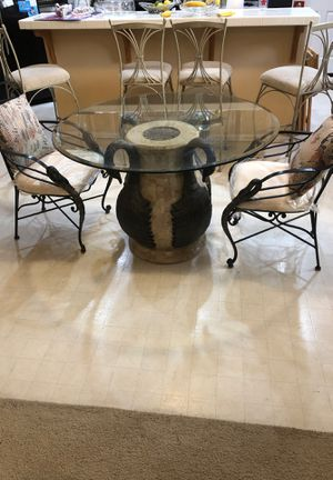 Glass Table with 4 chairs for Sale in Bellflower, CA