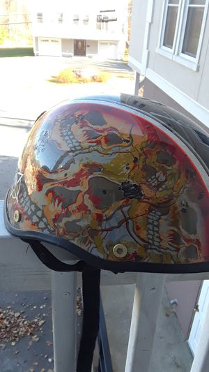 Bell designer motorcycle helmet part of the RSD artist series this one super rod with skulls. for Sale in North Attleborough, MA