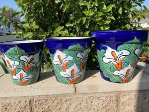 Talavera Ceramic Flower Planter Pot Set of 3 for Sale in Ontario, CA