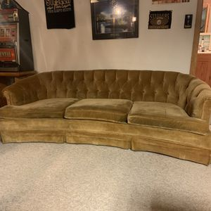 Vintage tuffed Velvet Sofa And Matching Chair for Sale in Monroeville, PA