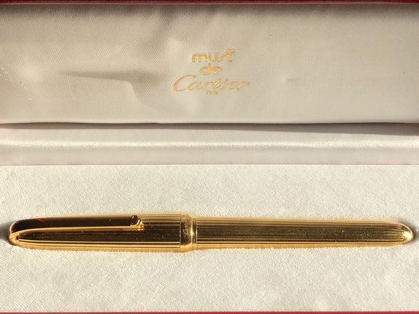 Must de CARTIER 'Louis Cartier' Fountain Pen GOLD plated very RARE