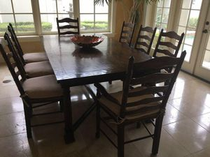 Impecable furniture wood table 8 chairs with cushions Natuzzi leather sofa moving soon for Sale in Orlando, FL