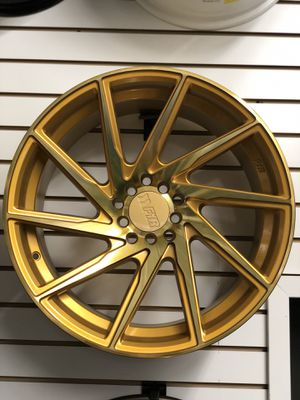 """18"""" f1r gold wheels rims tires fit 5x114 Honda Accord Nissan Infiniti Lexus toyota civic Acura TL tlx Tsx rsx type a crv ilx Subaru wrx speed3 Mazda for Sale in Queens, NY"""