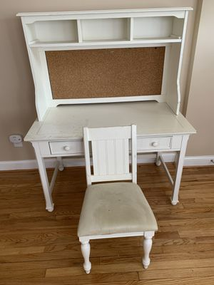 White wooden desk, chair and hutch- negotiable for Sale in Washington, DC