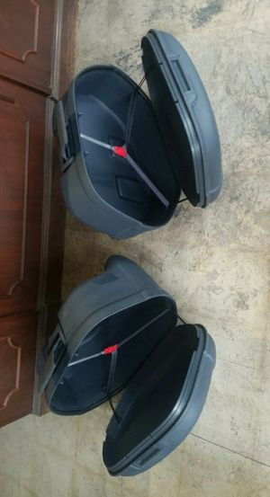 Pair of universal motorcycle hard plastic saddlebags. No keys no mounting hardware for Sale in Morton Grove, IL