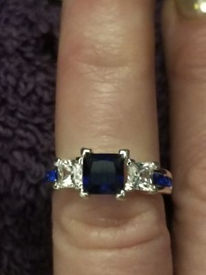 Beautiful 925 silver ring with white cz's and blue sapphires. Size 6. for Sale in Salt Lake City, UT