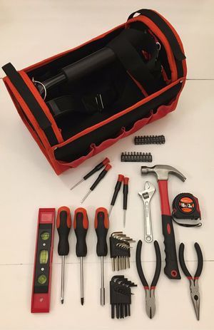 New in box 56 pcs olympia tool set screwdriver wrench hammock tool carrying bag case chest handyman for Sale in Covina, CA