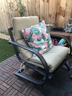 Two outdoor chairs and tan cushions for Sale in Englewood, CO