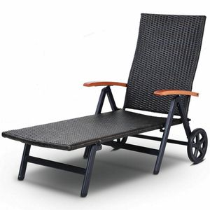 Folding Back Adjustable Aluminum Rattan Recliner Lounger w/ Wheels for Sale in Diamond Bar, CA