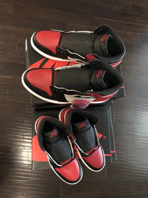 """Air Jordan 1 """"Bred Toe"""" size 13 looking to trade for smaller size for Sale in Dallas, TX"""
