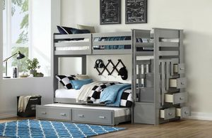 Grey twin over twin bunk bed with trundle drawers and stairway for Sale in Downey, CA
