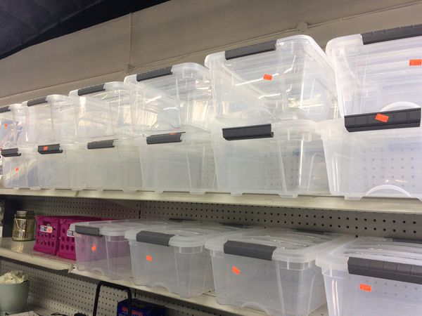 Clear storage bin containers small -3.99 large -5.99