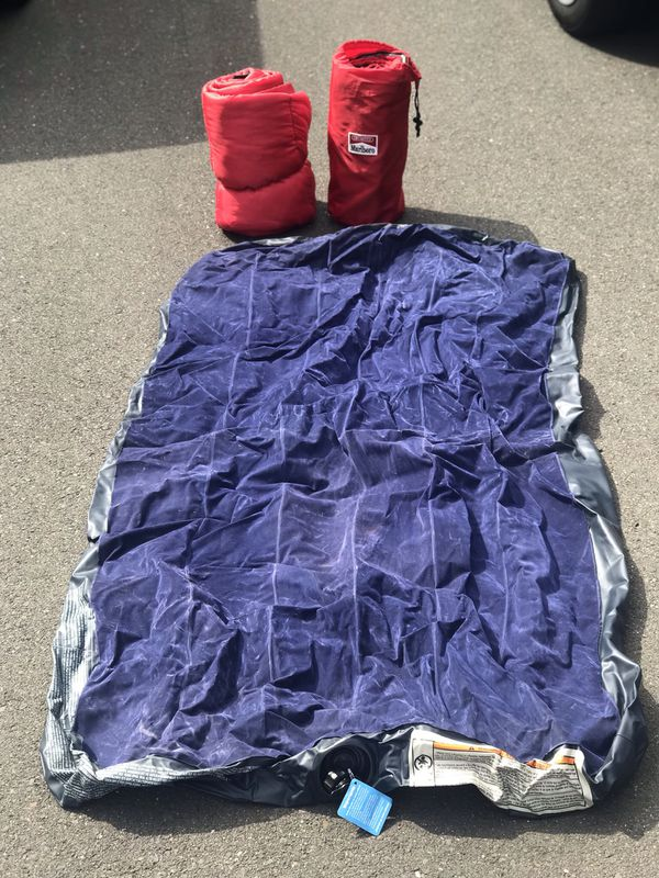 2 sleeping bags and twin air mattress