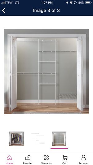 Closetmaid closet maid 5' x 8' closet organizer w/ shoe shelf for Sale in Houston, TX