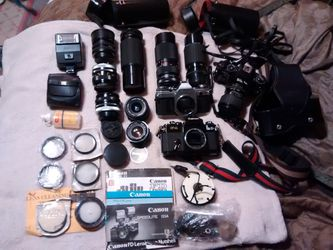 2 Canon AE1,sigma,3telescope lens etc. for Sale in Mount Hope,  KS