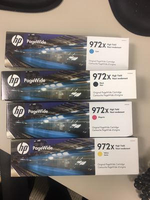 Two sets HP 972x black, cyan, magenta and yellow printer ink, for HP PageWide Printers shipping free for Sale in Wilmette, IL