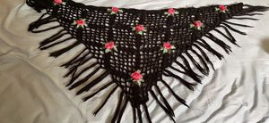 Wool shawl with knitted flowers for Sale in Laguna Niguel, CA