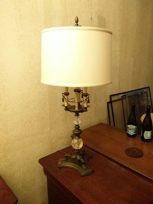Three way lamp, brass, large linen lampshade for Sale in Chicago, IL
