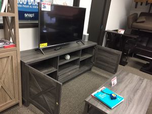 Tv Stand with 2 Doors, Distressed Grey for Sale in Santa Fe Springs, CA