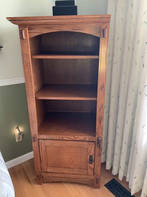Hutch with 3 layered shelves and door cabinet for storage. for Sale in Denver, CO