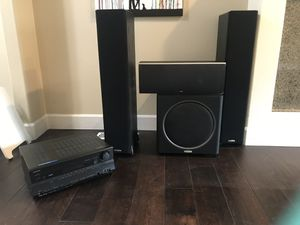 Polk Audio Home theatre speakers Onkyo receiver for Sale in Woodinville, WA